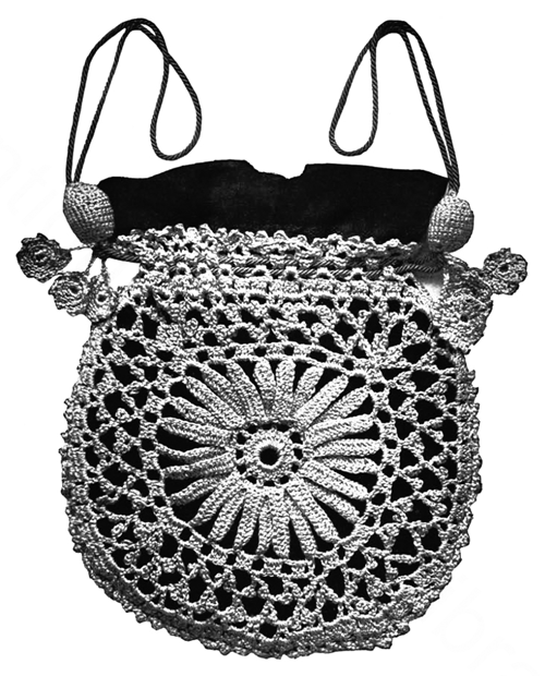 The Vintage Pattern Files 1910's Crochet - Princess Louise Crocheted Evening Bag